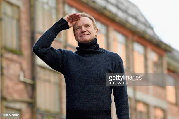 Musician Sting poses as he launches his debut musical 'The Last Ship' at the Fairfield shipyard Govan on December 4 2017 in Glasgow Scotland The...