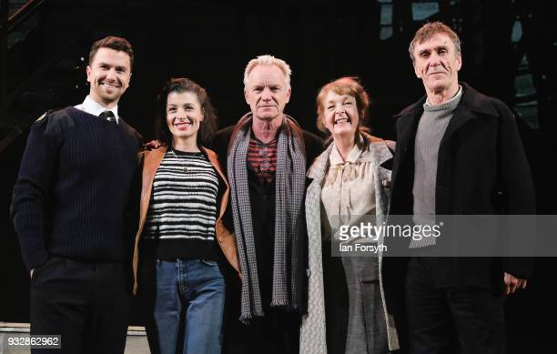 Musician Sting stands with actors Richard Fleeshman Frances McNamee Charlie Hardwick and Joe McGann during 'The Last Ship' photocall at Northern...