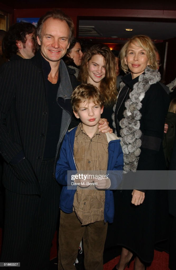 Musician Sting, wife producer Trudie Styler, daughter Coco and son Giacomo attend the 'Mary Poppins' Gala Preview ahead of tomorrow's press night at the Prince Edward Theatre on December 14, 2004 in London.