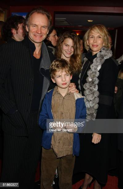 Musician Sting wife producer Trudie Styler daughter Coco and son Giacomo attend the Mary Poppins Gala Preview ahead of tomorrow's press night at the...