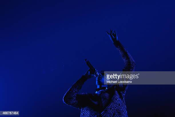 Musician Stromae performs at the NPR showcase during the 2015 SXSW Music Film Interactive Festival at Stubbs on March 18 2015 in Austin Texas