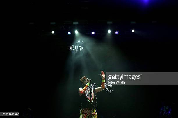 Musician Sufjan Stevens performs onstage during day 1 of the 2016 Coachella Valley Music Arts Festival Weekend 2 at the Empire Polo Club on April 22...