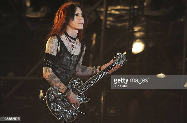 Musician Sugizo of X Japan performs live at Nissan Stadium on August 14 2010 in Yokohama Japan