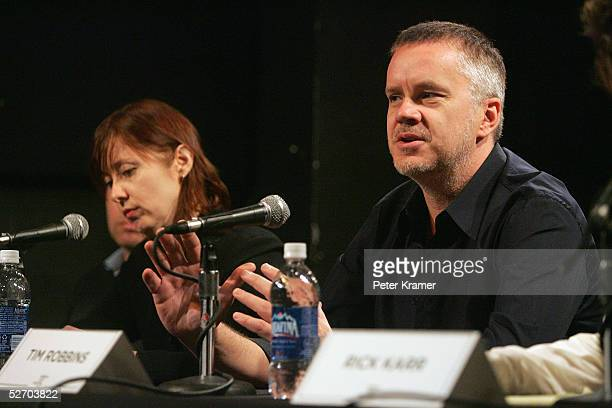 Musician Suzanne Vega and actor Tim Robbins speak at 'The Soundtrack' panel part of the Tribeca Talks program during the Tribeca Film Festival at the...