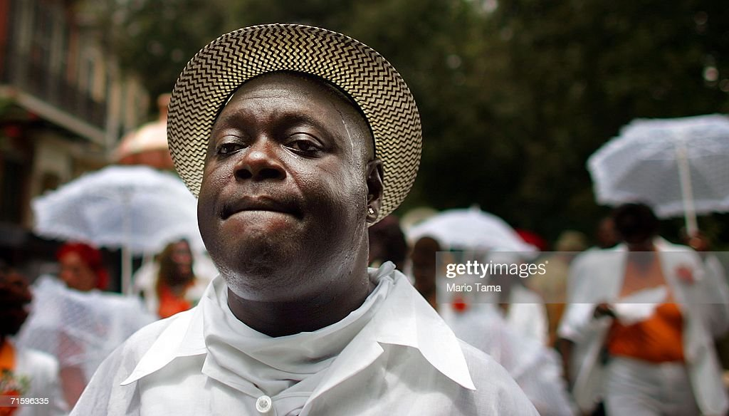 A musician sweats while marching in the Satchmo Summerfest Second Line Parade August 6, 2006 in New Orleans, Louisiana. The festival honors jazz great Louis 'Satchmo' Armstrong and was moved this year to the French market area in the French Quarter from the Old U.S. Mint where it has been held in the past due to damage from Hurricane Katrina.