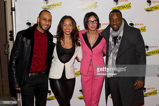 Musician Swizz Beatz actress Lisa Falcone actor Malik Yoba and musician Alicia Keys attend the Stick Fly Broadway opening night at the Cort Theatre...
