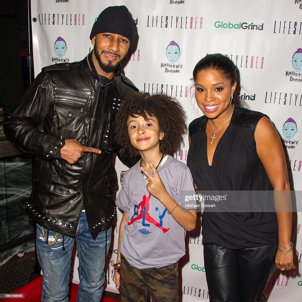 Musician Swizz Beatz, DJ Fulano Librizz and Singer Mashonda Tifrere attend Flipeez Presents Kasseem's Dream Halloween Party at BKLYN BEAST on October 29, 2013 in Brooklyn, New York.
