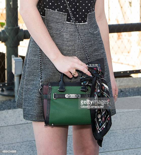 Musician Sydney Sierota handbag detail is seen arriving at Coach fashion show during Spring 2016 New York Fashion Week on September 15 2015 in New...