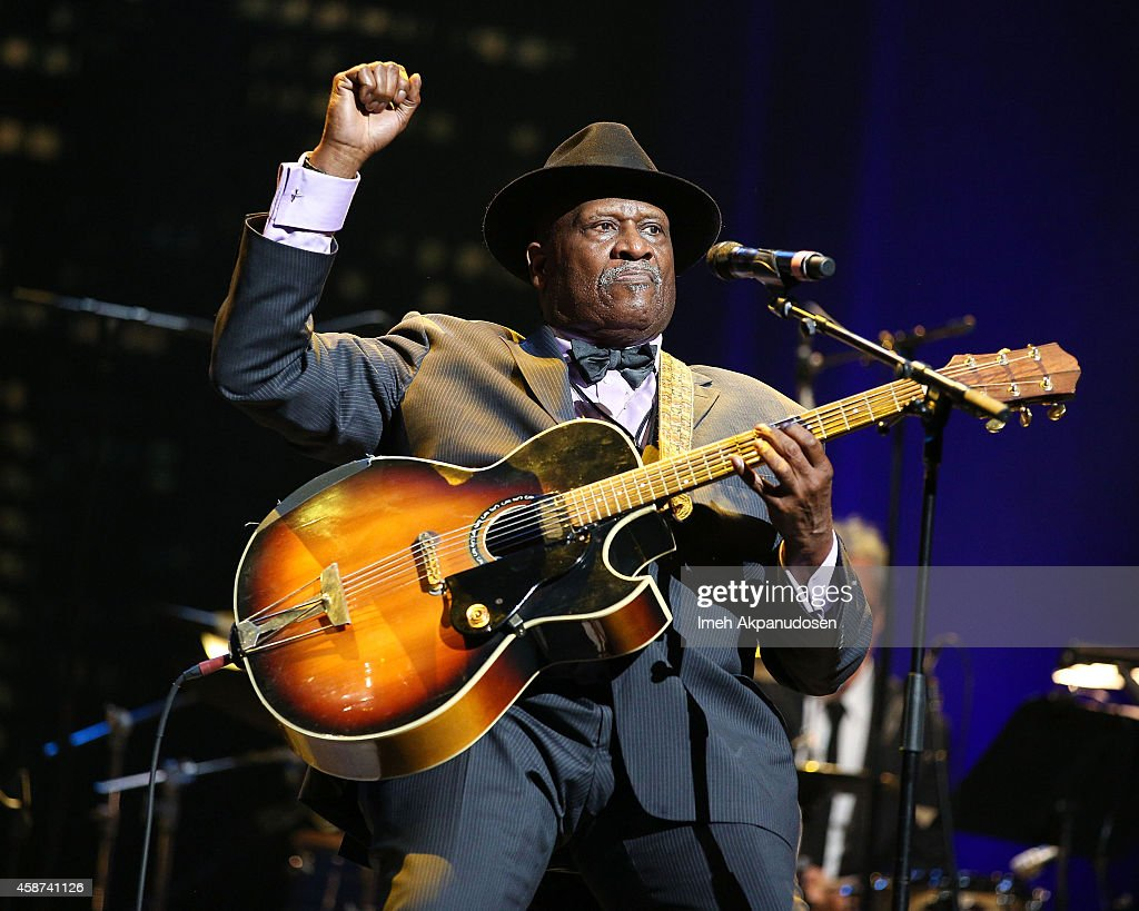 Musician Taj Mahal performs onstage at the 2014 Thelonious Monk International Jazz Trumpet Competition at Dolby Theatre on November 9, 2014 in Hollywood, California.
