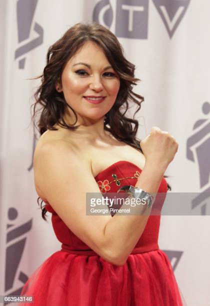 Musician Tanya Tagaq poses in the press room during the 2017 Juno Awards held at Canadian Tire Centre on April 2 2017 in Ottawa Canada