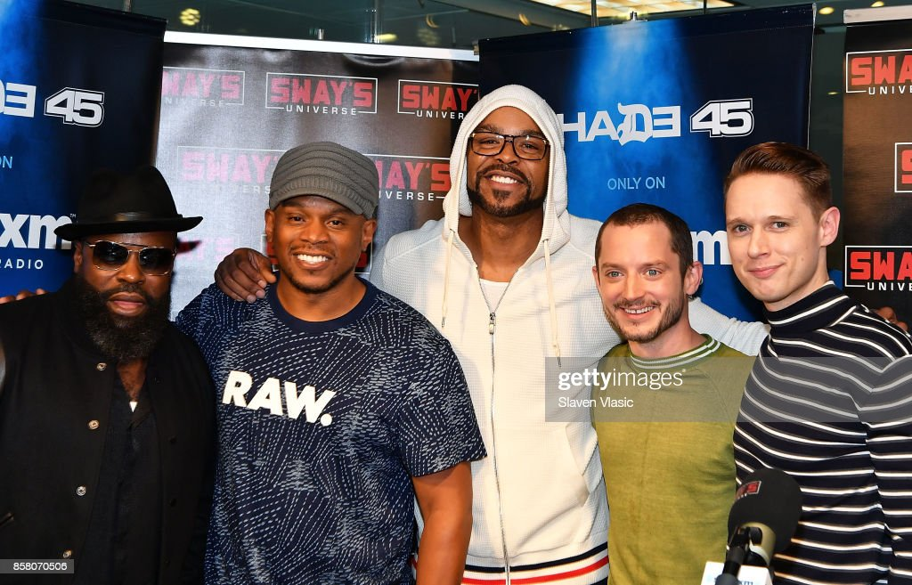 Musician Tariq 'Black Thought' Trotter, radio/TV personality Sway, rapper Method Man, actor Elijah Wood and actor Samuel Barnett pose for a photo at 'Shade 45/Sway' at SiriusXM Studios on October 5, 2017 in New York City.