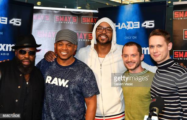 Musician Tariq 'Black Thought' Trotter radio/TV personality Sway rapper Method Man actor Elijah Wood and actor Samuel Barnett pose for a photo at...