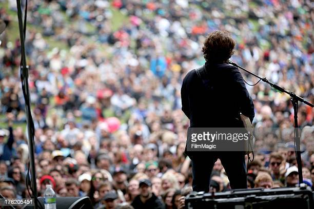 Musician Taylor Goldsmith of Dawes performs at the Sutro Stage during Day 3 of the 2013 Outside Lands Music And Arts Festival at Golden Gate Park on...
