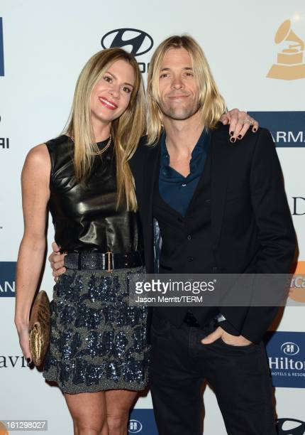 Musician Taylor Hawkins and Alison Hawkins arrive at Clive Davis The Recording Academy's 2013 PreGRAMMY Gala and Salute to Industry Icons honoring...