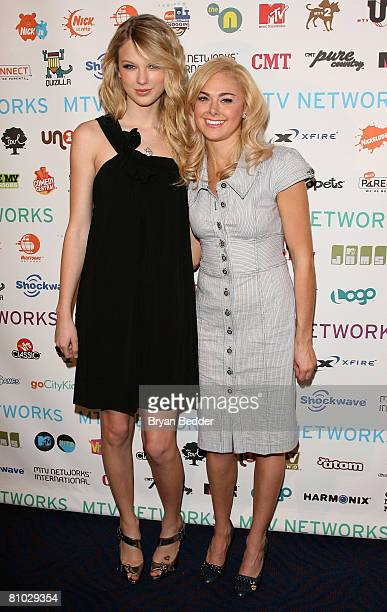 Musician Taylor Swift and actress Laura Bell Bundy attend the MTV Networks Upfront at the Nokia Theater on May 8 2008 in New York City