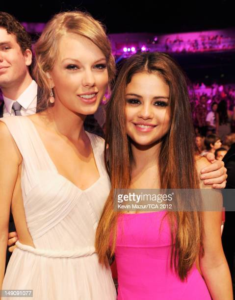 Musician Taylor Swift and actress/singer Selena Gomez attend the 2012 Teen Choice Awards at Gibson Amphitheatre on July 22 2012 in Universal City...