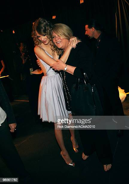 Musician Taylor Swift and her mother Andrea Swift backstage during Brooks Dunn's The Last Rodeo Show at the MGM Grand Garden Arena on April 19 2010...
