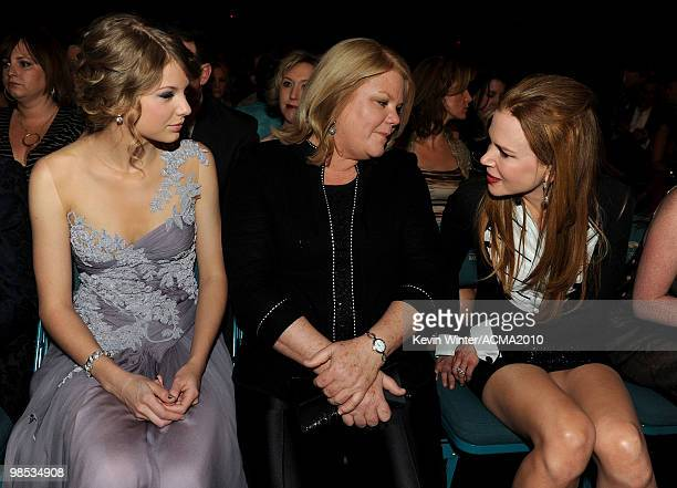 Musician Taylor Swift Andrea Swift and actress Nicole Kidman during the 45th Annual Academy of Country Music Awards at the MGM Grand Garden Arena on...