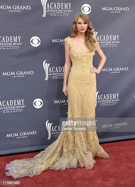 Musician Taylor Swift arrives at the 46th Annual Academy Of Country Music Awards RAM Red Carpet held at the MGM Grand Garden Arena on April 3 2011 in...