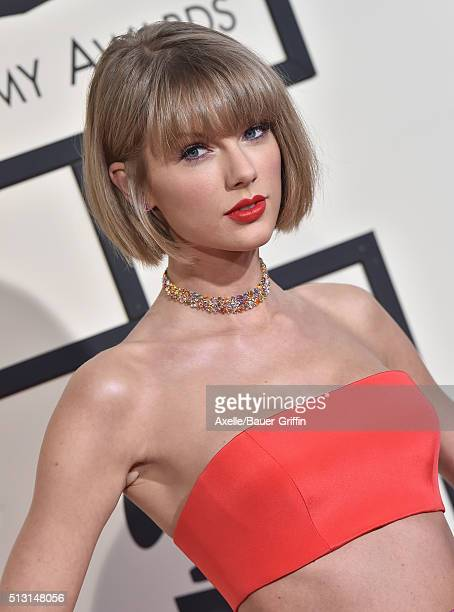 Musician Taylor Swift arrives at The 58th GRAMMY Awards at Staples Center on February 15 2016 in Los Angeles California