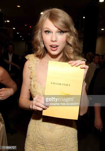 Musician Taylor Swift at the 46th Annual Academy Of Country Music Awards held at the MGM Grand Garden Arena on April 3 2011 in Las Vegas Nevada