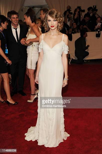 Musician Taylor Swift attends the Costume Institute Gala Benefit to celebrate the opening of the 'American Woman Fashioning a National Identity'...