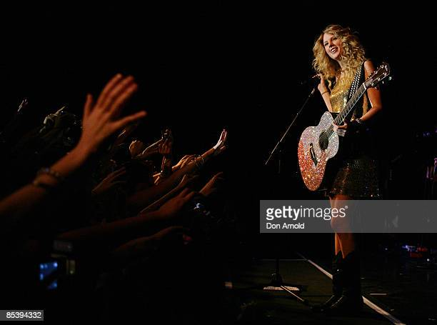 Musician Taylor Swift performs on stage in concert on the Sydney stop of her Fearless tour at The Factory Theatre on March 12 2009 in Sydney Australia