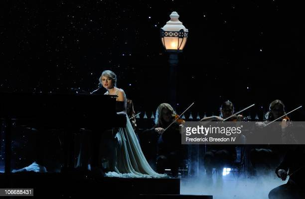 Musician Taylor Swift performs onstage at the 44th Annual CMA Awards at the Bridgestone Arena on November 10 2010 in Nashville Tennessee