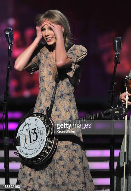 Musician Taylor Swift performs onstage at the 54th Annual GRAMMY Awards held at Staples Center on February 12 2012 in Los Angeles California