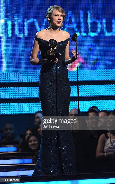 Musician Taylor Swift performs onstage during the 52nd Annual GRAMMY Awards held at Staples Center on January 31 2010 in Los Angeles California