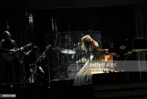 Musician Taylor Swift performs onstage during the 56th GRAMMY Awards at Staples Center on January 26, 2014 in Los Angeles, California.
