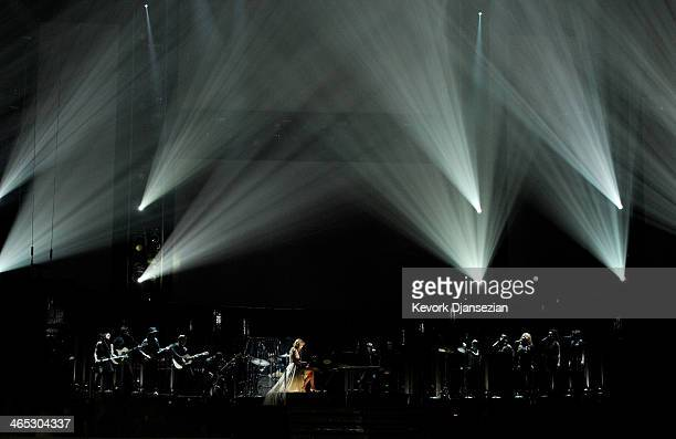 Musician Taylor Swift performs onstage during the 56th GRAMMY Awards at Staples Center on January 26 2014 in Los Angeles California