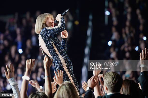 Musician Taylor Swift performs onstage during The 58th GRAMMY Awards at Staples Center on February 15 2016 in Los Angeles California
