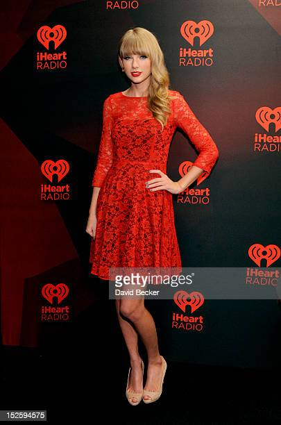 Musician Taylor Swift poses in the Elvis Duran Broadcast Room during the 2012 iHeartRadio Music Festival at the MGM Grand Garden Arena on September...
