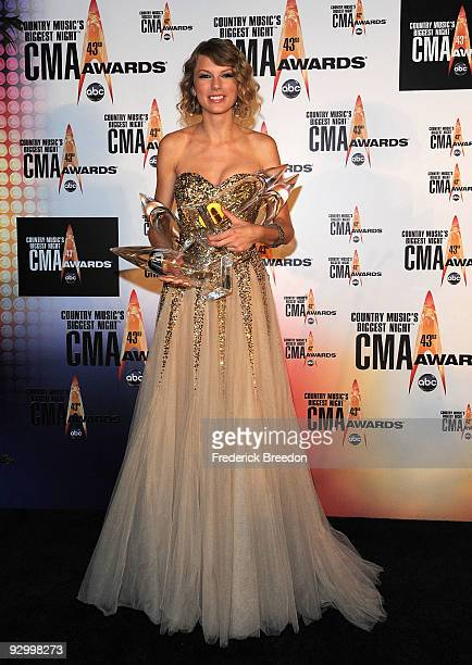 Musician Taylor Swift poses in the press room during the 43rd Annual CMA Awards at the Sommet Center on November 11 2009 in Nashville Tennessee