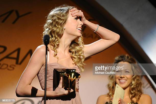 Musician Taylor Swift receives an award at the 52nd Annual GRAMMY Awards pre-telecast held at Staples Center on January 31, 2010 in Los Angeles,...