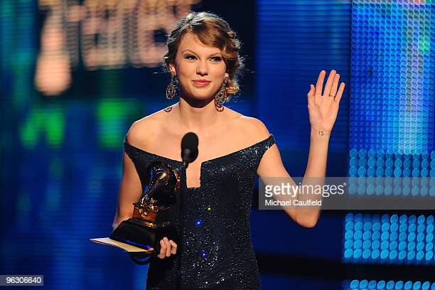 Musician Taylor Swift receives an award onstage at the 52nd Annual GRAMMY Awards held at Staples Center on January 31, 2010 in Los Angeles,...