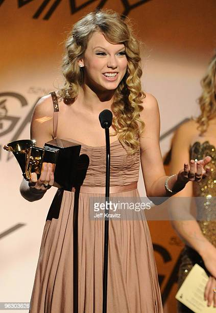 Musician Taylor Swift speaks onstage during the 52nd Annual GRAMMY Awards pre-telecast held at Staples Center on January 31, 2010 in Los Angeles,...