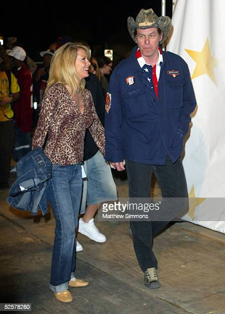 Musician Ted Nugent and wife Shemane arrive to Rockin' The Corps An American Thank You Celebration Concert at Camp Pendelton on April 1 2005 in San...