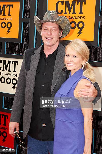 Musician Ted Nugent and wife Shemane Nugent attend the 2009 CMT Music Awards at the Sommet Center on June 16 2009 in Nashville Tennessee