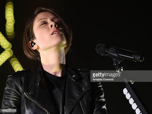 Musician Tegan Quin of Tegan and Sara performs onstage at the Hollywood Palladium on November 18 2014 in Hollywood California