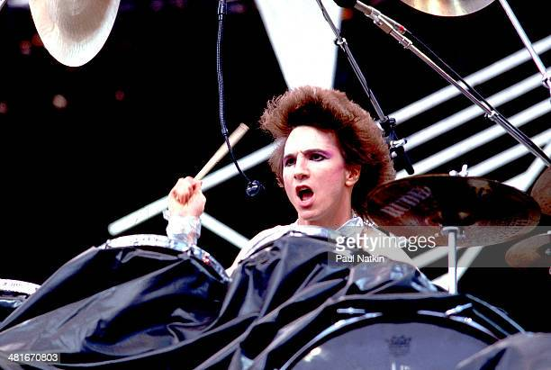 Musician Terry Bozzio of the group Missing Persons performs onstage Ontario Canada May 30 1983