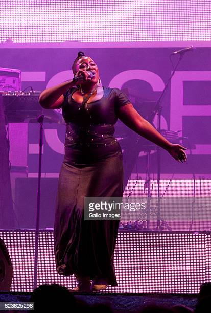 Musician Thandiswa Mazwai performs during the Essence Festival All Star music concert at the Moses Mabhida Stadium on November 13 2016 in Durban...