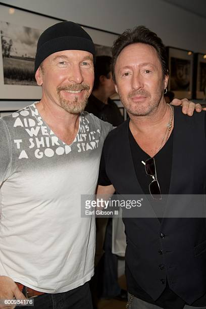 Musician The Edge and Musician/Photographer Julian Lennon pose for a photo at the Leica Gallery Los Angeles Presents Mathieu Bitton's Darker Than...