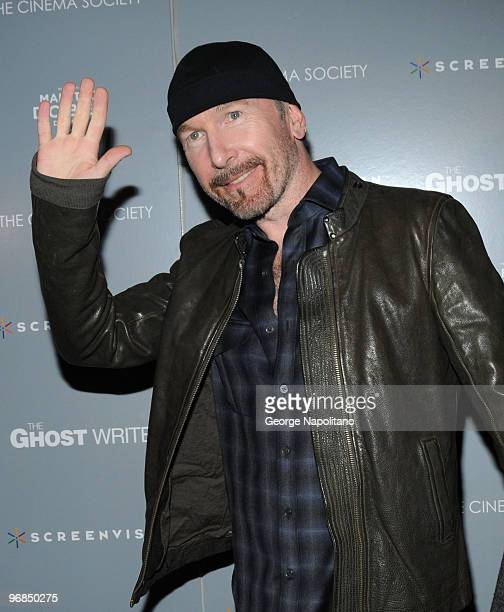 """Musician The Edge attends the Cinema Society & Screevision screening of """"The Ghost Writer"""" at the Crosby Street Hotel on February 18, 2010 in New..."""