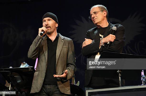 Musician The Edge of U2 and producer Bob Ezrin CoFounder of Music Rising attend the Icons Of Music II Auction Benefitting Music Rising at The Hard...