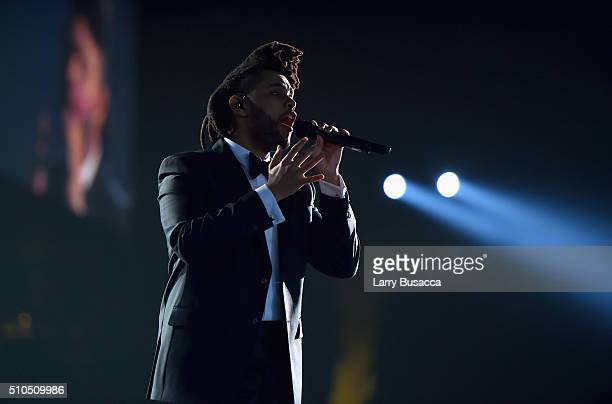 Musician The Weeknd performs onstage during The 58th GRAMMY Awards at Staples Center on February 15 2016 in Los Angeles California