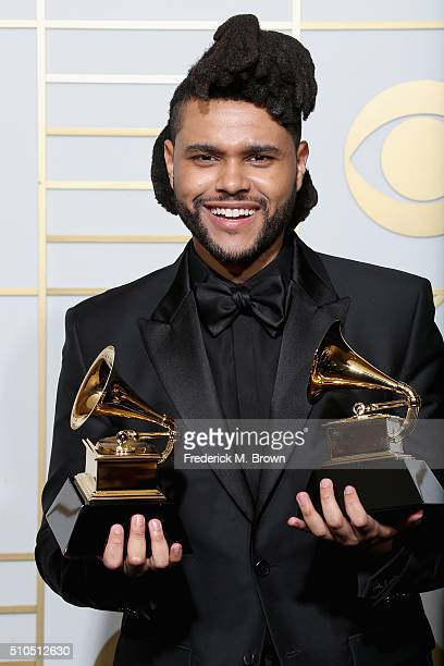 Musician The Weeknd winner of the awards for Best RB Performance for 'Can't Feel My Face' and Best Urban Contemporary album for 'Beauty Behind the...
