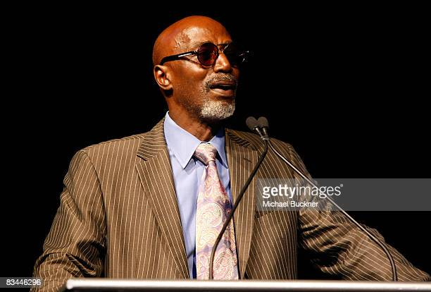 Musician Thelonious Monk speaks onstage during the Thelonious Monk Institute of Jazz honoring BB King event held at the Kodak Theatre on October 26...