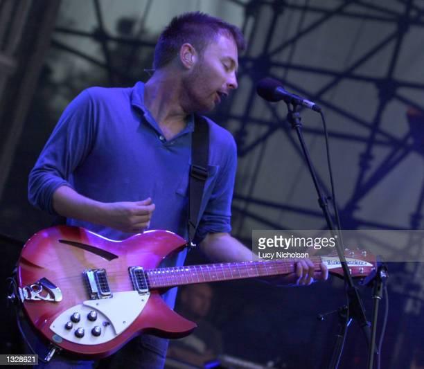 Musician Thom Yorke from the band Radiohead performs onstage June 29 2001 at the Santa Barbara Bowl CA